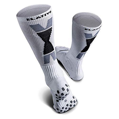 ELATIVO CALCETIN NON-SLIP COMPRESSION CREW SOCKS (S) - Anti slip, grip tube cushion socks for soccer, futsal, football, basketball, baseball, running, hiking, jogging, cycling, climbing, tennis