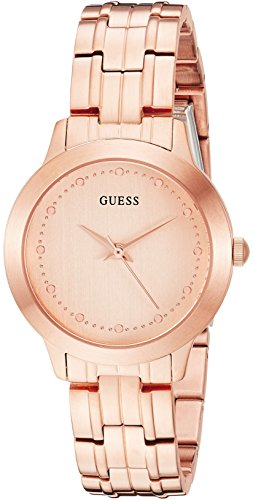 GUESS Women's Stainless Steel Petite Casual Watch, Color: Brushed Rose Gold-Tone (Model: - Watch Wrist Guess
