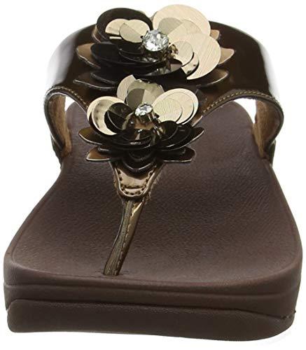 Ouvert Marron Bronze FitFlop 012 Lulu Sandales Femme Flower Bout IYwSHw7q