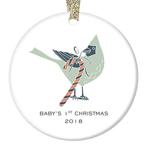 - Iliogine Baby Boy's 1st Christmas Ornament 2018 Cute Cardinal Candy Cane Delivery Ceramic Keepsake for Mommy & Daddy's Newborn Son Infant's First Holiday Flat Porcelain Funny