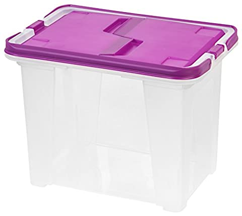 IRIS Letter Size Portable Wing Lid File Box with Handles, Purple