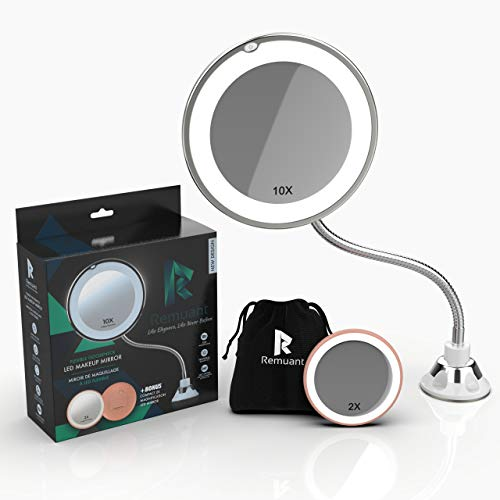 Remuant 6.8 inch 10x Magnifying Makeup Mirror With Light,Magnifying Mirror Make-up,360 Degree -
