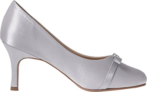 Womens Medium Heel Court Shoes With Bow Design On The Front Top Wedding Bridal Prom Party Heels By Lexus 37DY0vp