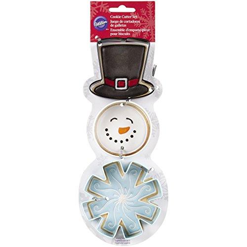 Wilton 2308-5072 3-Piece Christmas Snowman Metal Cookie Cutter Set