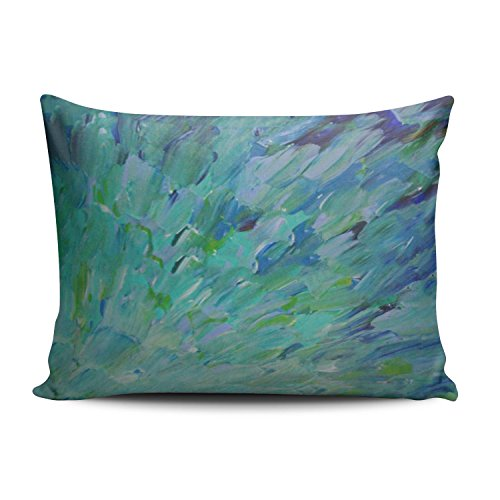 SALLEING Custom Pretty Cute Blue Teal Ocean Theme Peacock Feathers Mermaid Fins Waves Decorative Pillowcase Pillowslip Throw Pillow Case Cover Zippered One Side Printed 12x16 Inches (Palm Side Case)