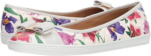 Salvatore Ferragamo Women's Nappa Leather/Tweed Sneaker White/Multicolor Capra Bunny 7.5 C US (White Leather Ferragamo)