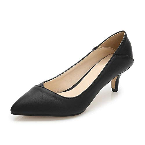 Women's Fashion Classic Pointy Toe Low Kitten Heel Office Dress Slip On Pump black-40