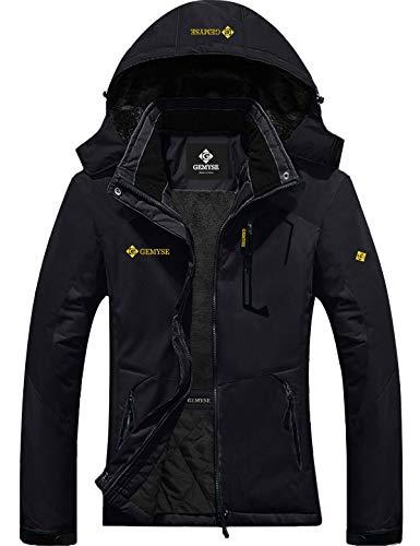 GEMYSE Women's Mountain Waterproof Ski Snow Jacket Winter Windproof Rain Jacket (Black, L) (Warmest Ski Jacket Women)