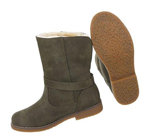 Damen Schuhe Stiefeletten Warm Gefütterte Boots Olive