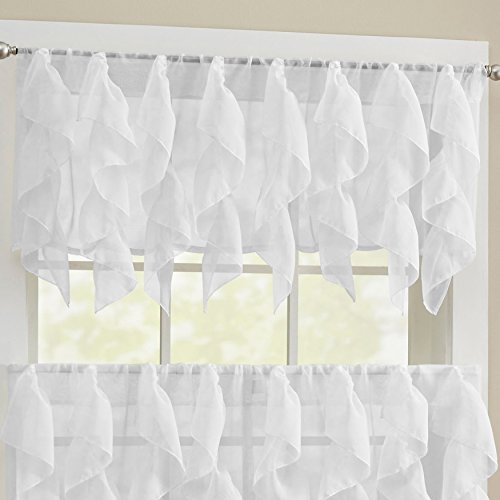 Sweet Home Collection Swag Stylish and Unique Patterns and Designs, Valance, Sheer (Ruffled Swag Valance)