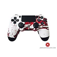 AiM Controllers PS4 DualShock 4 PlayStation 4 Wireless Controller - Custom AiM Dexter Design with Paddles. Left X, right O
