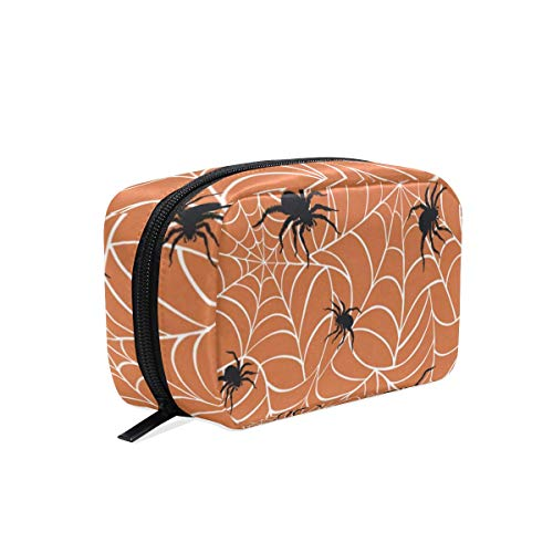 (Cosmetic Bag Halloween Spiders On Webs Girls Makeup Organizer Box Lazy Toiletry)