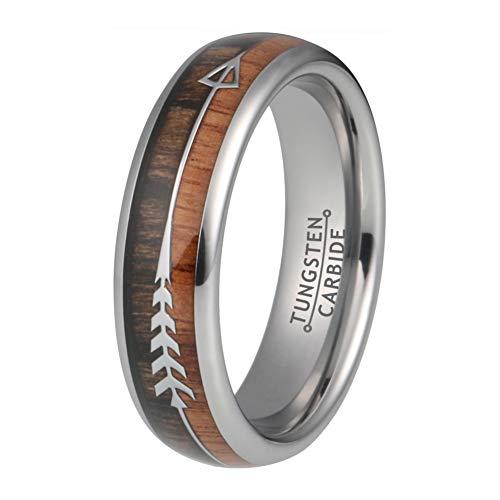 (Wow Jewelers 6mm Womens Tungsten Rings Mens Wedding Bands Koa Wood Arrow Inlay Hunting Native American Jewelry)