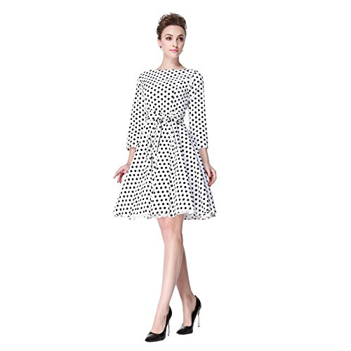 Heroecol 50s 60s Hepburn 3/4 Sleeve Style Vintage Retro Swing Rockailly Dresses Size L Color White with Black
