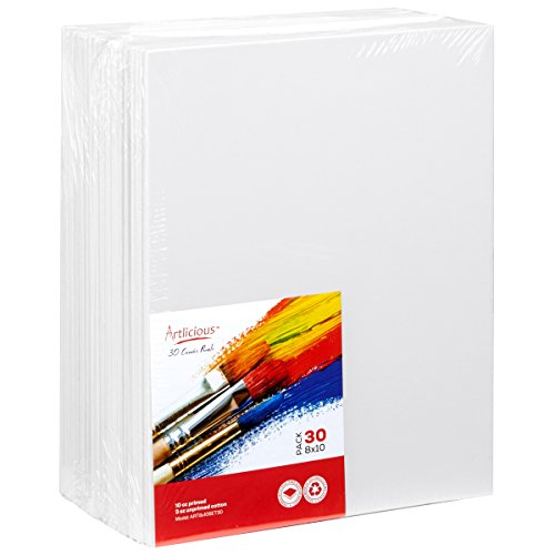Artlicious - 30 Classroom Value Pack - 8x10 Primed Canvas Panel Boards Primed Canvas