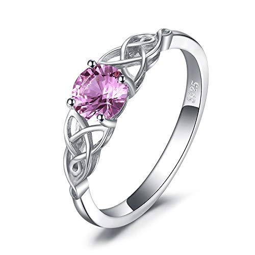 JewelryPalace Celtic Knot 0.8ct Created Pink Sapphire Ring 925 Sterling Silver size 8
