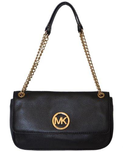Michael Kors Fulton Small Flap Black Leather Cross-body Handbag