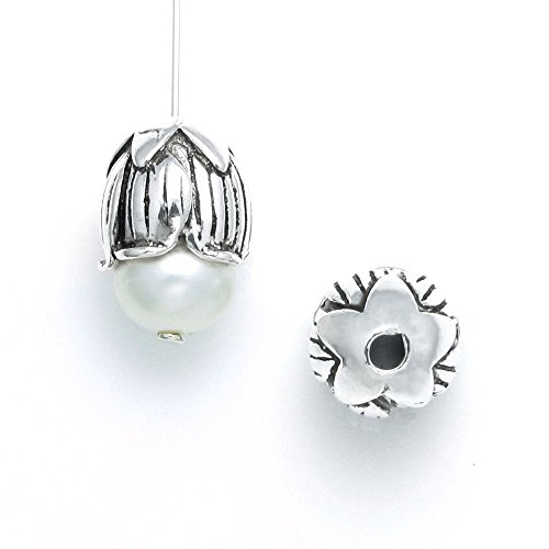 Dreambell 2 pcs Bali .925 Sterling Silver 9mm Tulip Flower Bud Cone Pearl Bead Cap Cover / Findings / Antique