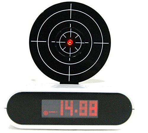 FUBARBAR Infrared Gun and Target Game Recordable Alarm Clock with LED Digital Display-Black