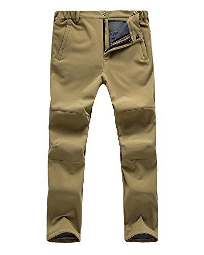 Mens Outdoor Windproof Waterproof Hiking Mountain Ski Pants, Soft Shell Fleece Lined Trousers#NK-801,Khaki,US M 34