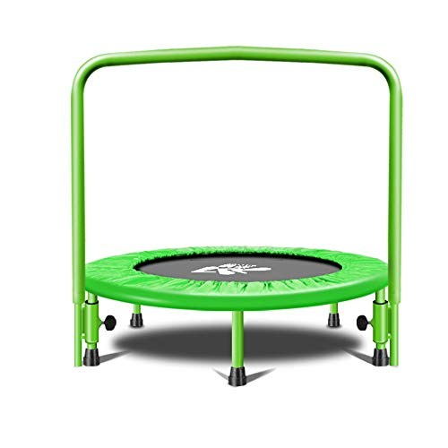 JIAYUAN Trampolines Trampoline for Two Kids, Parent-Child Trampoline with Handrail and Safety Padded Cover for Kids Ages 3+ Fitness Body Exercise (Color : Green)