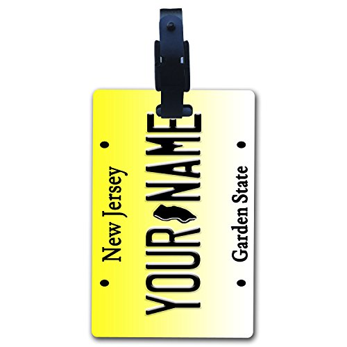 (BleuReign(TM Personalized Custom Name New Jersey State License Plate Luggage Tag with Strap)