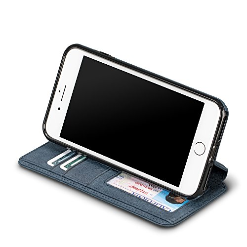 Sena Bence Wallet Book Leather Cell Phone Case for 6+ 7+ 8+ Plus - Denim