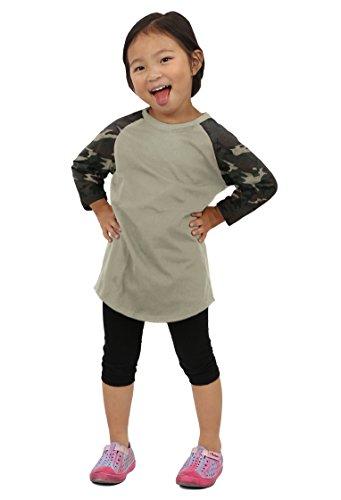 - Hat and Beyond Kids Raglan 3/4 Sleeves Baseball T Shirts Baby (M (6-7Yrs 7T), 5ks01_Olive/Camouflage)