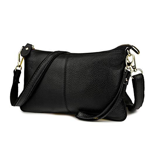 e Leather Clutch Handbag Fashion Wristlet Purse Envelop Crossbody Shoulder Bag with Removable Long Strap for Party Wedding Shopping (Black) ()