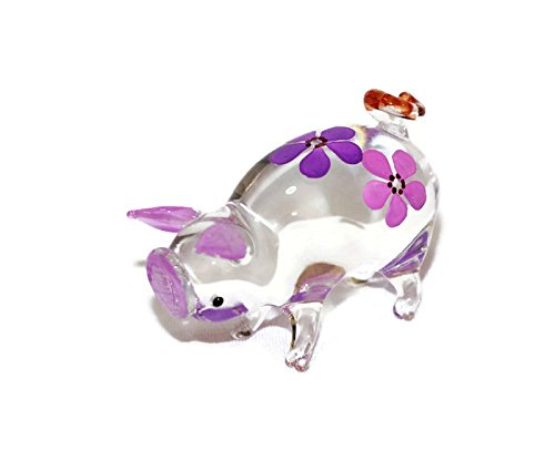 Blown Pig Glass (Dollhouse Miniatures Hand Blown Art Purple Cute Pig Flower FIGURINE Animals Decor)