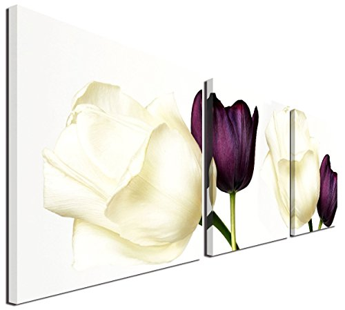 "Mon Art Tulip Wall Art White Purple Tulips Pictures wall art flower pictures wall decor for bathroom wall decor rose pictures for living room bedroom deocor modern canvas pictures Framed 16""x16"" 3 Pcs"