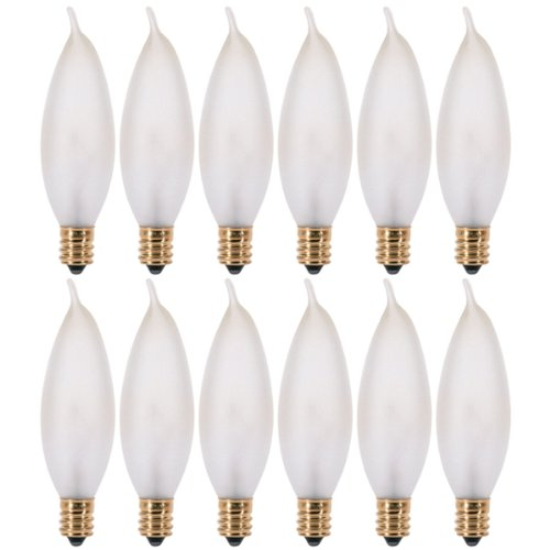 (Pack of 12) 25 Watt Frosted Candelabra Base (E12) Flame Tip 120V (Bent Tip Frosted Candelabra)