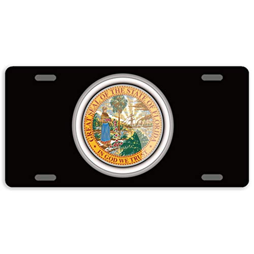 - Eprocase License Plate Cover Automotive License Plate Novelty Car Tag Metal Decorative Tags Auto Sign Front License Plates 4 Holes 12 x 6 Inches, The Great Seal of The State of Florida
