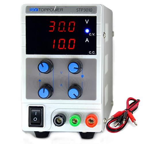 SKYTOPOWER Variable DC Power Supply 30V 10A Adjustable Regulated Lab Grade Safe Circuit Design 110/220V Switchable