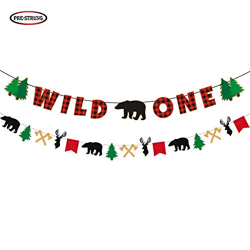 Buffalo Plaid Wild One Banner, Woodland First Birthday Party Decorations