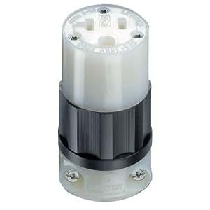 Leviton 5369-C 20 Amp, 125 Volt, Connector, Industrial Grade, Straight Blade, Grounding, Black-White
