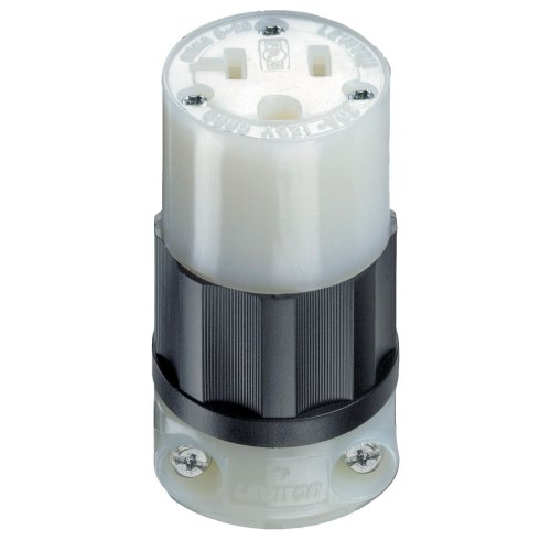 Leviton 5369-C 20 Amp, 125 Volt, Connector, Industrial Grade, Straight Blade, Grounding, Black-White