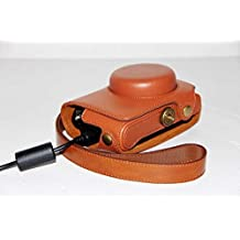 Protective PU Leather Camera Case Bag with Tripod Design Compatible For Casio EXILIM EX - 100 EX100 with Shoulder Neck Strap Belt Brown