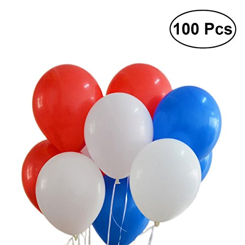 NUOLUX Latex Balloons,12 inch Red White Blue Balloons for -