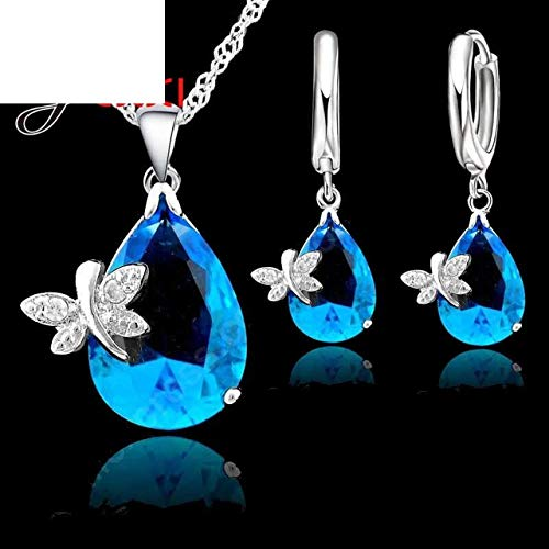 Bridal Jewelry Sets 925 Sterling Silver Austrian Crystal Butterfly Drop Cz Necklace Pendant Leverback Hoop Earrings Set