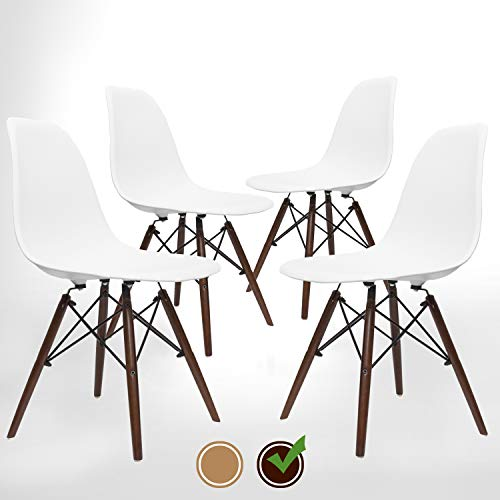 (UrbanMod Mid Century Modern Style Chairs The 'Easy Assemble DSW Ergoflex Abs Plastic and 'One Wipe Wonder' Cleaning Comfortable Dining Meets 5-Star, Set of 4 (Walnut))