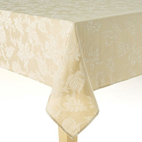 Autumn Leaf Damask Fall Fabric Tablecloth (60 x 84 Rectangle/Oblong, - Tablecloth Autumn Leaves