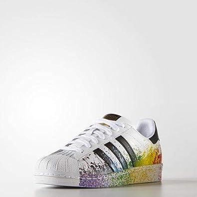 size 40 723ea cc100 Adidas Originals Superstar Rainbow Paint Splatter White Black Fashion Shoes