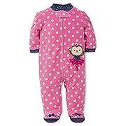 Little Me Baby Girls' Blanket Sleeper, Monkey, 3 Months