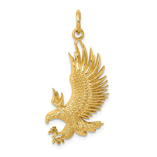 14k Yellow Gold American Bald Eagle Pendant Charm Necklace Bird Man Fine Jewelry Gift For Dad Mens For Him ()