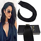 Sunny 14inch Tape Hair Extensions Color #1 Jet Black Tape in Hair Extensions Human Hair Black Remy Hair Extensions 20pcs 50g