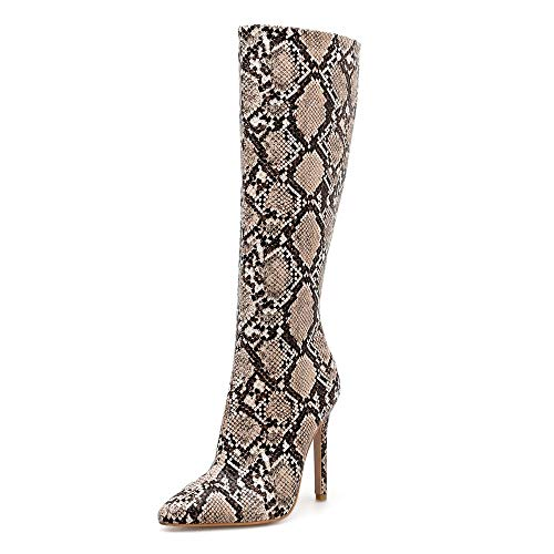 Limsea 2019 Newfashioned Women Snake Winter Boots Knee High Boots Stiletto Sexy Nightclub Stage Boots 7.5 Brown