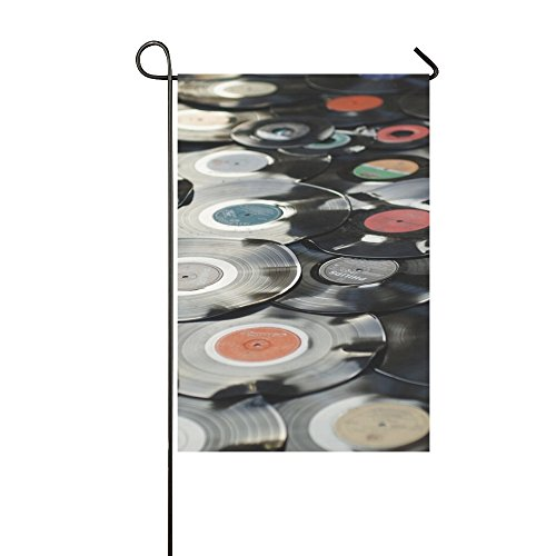 Home Decorative Outdoor Double Sided Bakelite Retro Plastic Old Black Music Disc Garden Flag,house Yard Flag,garden Yard Decorations,seasonal Welcome Outdoor Flag 12 X 18 Inch Spring Summer Gift -