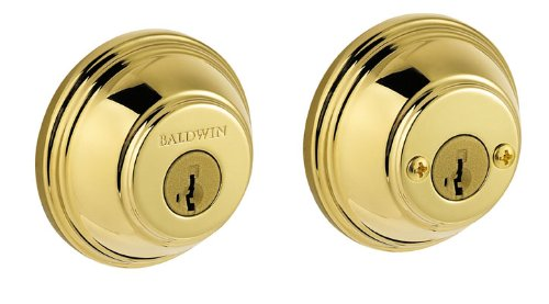 Baldwin 385 RDB L03 SMT CP RCAL 385 Double Cylinder Round Deadbolt Featuring SmartKey, Lifetime Polished Brass