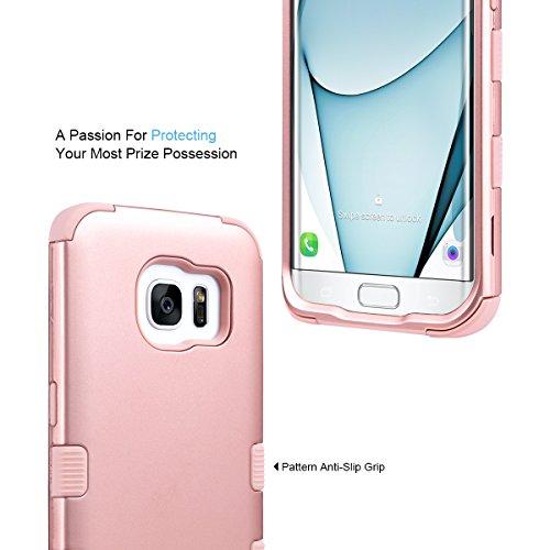 S7 Edge Hülle, ULAK Galaxy S7 Edge Hülle Case 3 Layer Hybrid Combo Innere Weißhe Silikon Hart Plastik Anti-stoß Schutzhülle Tasche Case Cover für Samsung Galaxy S7 Edge (Rosé Gold)